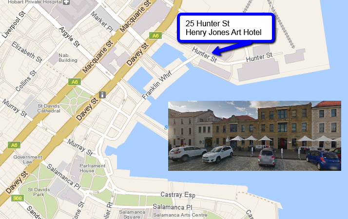 Tour Start Location - Henry Jones Art Hotel - 25 Hunter St Hobart